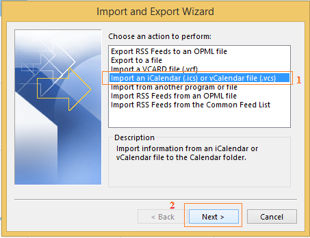 Select Import iCalendar option