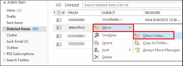 move contacts to other folder
